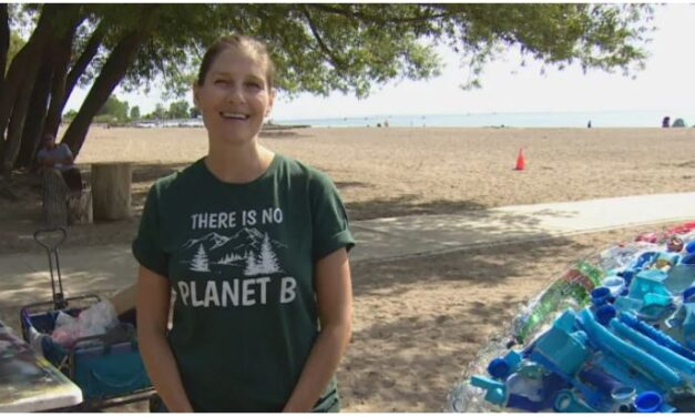 Toronto woman creates globe out of plastic trash to draw attention to beach waste